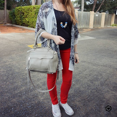 awayfromtheblue isntagram rebecca minkoff MAM bag red skinny jeans with black and white converse outfit