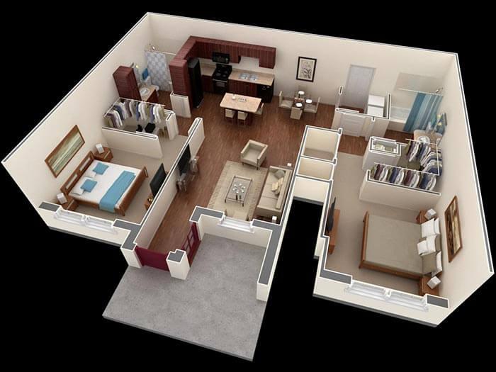 2 yatak villa planları