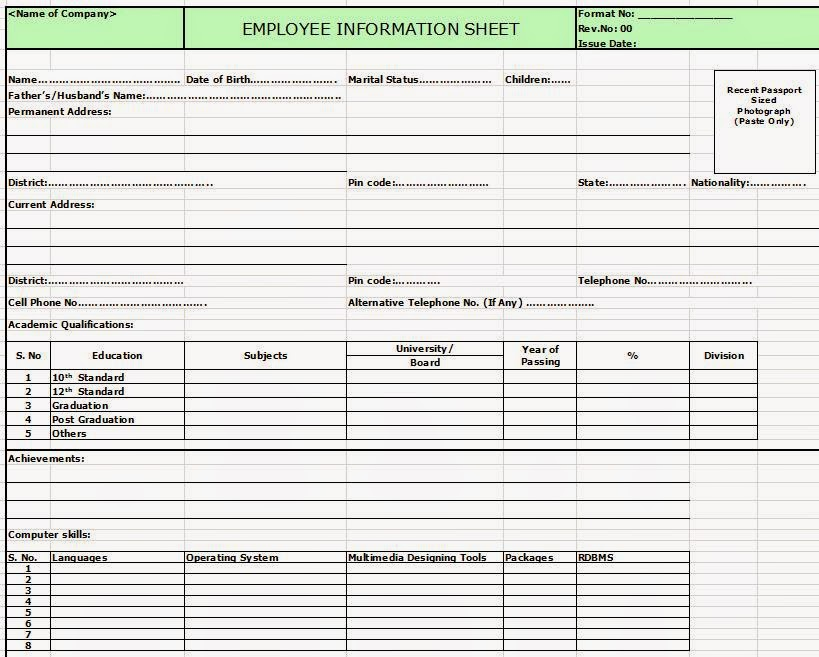 Employee information sheet in excel format for Excel template employee information