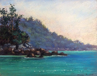 Soft pastel painting of Kata beach in Phuket by Manju Panchal