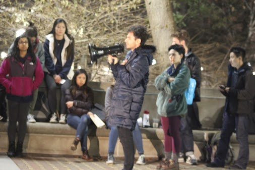 Student protesters speak out against hate / Richard Spencer at University of Michigan Tuesday in Ann...