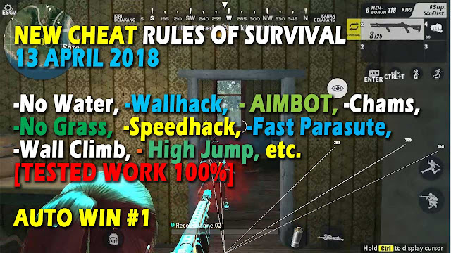Cheat Rules of Survival Glutamin 3.0 Update 13 April 2018 No Grass  Aimbot Lock No Water Fast Parasute Wall Climb Wallhack