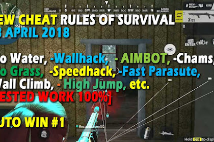Cheat Rules of Survival Glutamin 4.0 Update 13-14 April 2018 No Grass  Aimbot Lock No Water Fast Parasute Wall Climb Wallhack