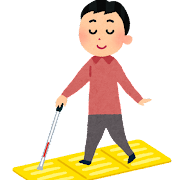 点字ブロックの上を歩く男性のイラスト
