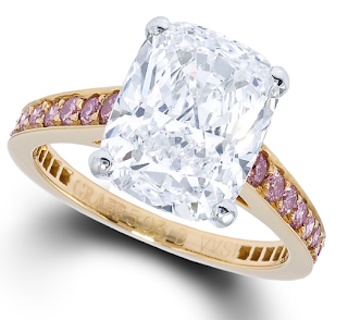 Graff signature pink diamond engagement ring, set with a 5.03ct cushion-cut diamond on a pink diamond rose gold band.