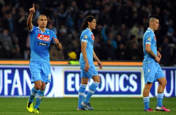 Napoli midfielder Gökhan İnler celebrates after scoring the equaliser against Juventus