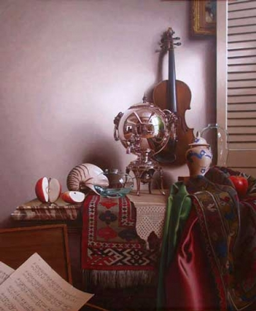 12-Sonata-with-Silver-Mark-Thompson-Photo-Realistic-Still-Life-Paintings-www-designstack-co