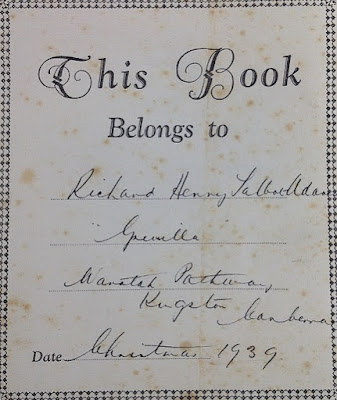 Details inscribed on the first page of Our Darlings' Treasure House edited by Alexander Watson,1936.