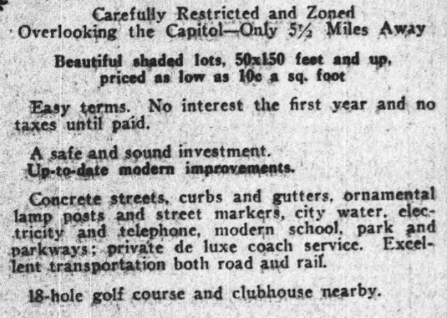 snippet of information in 1926 ad for Cheverly