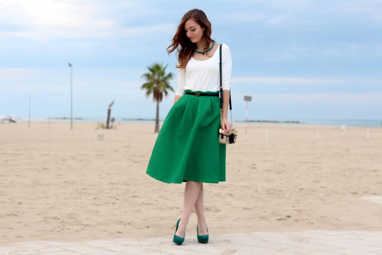 look romantico green midi skirt