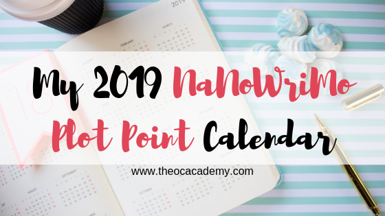 My 2019 NaNoWriMo Plot Point Calendar