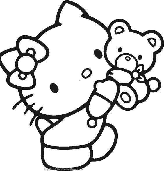 Tranh tô màu mèo hello kitty và gấu con