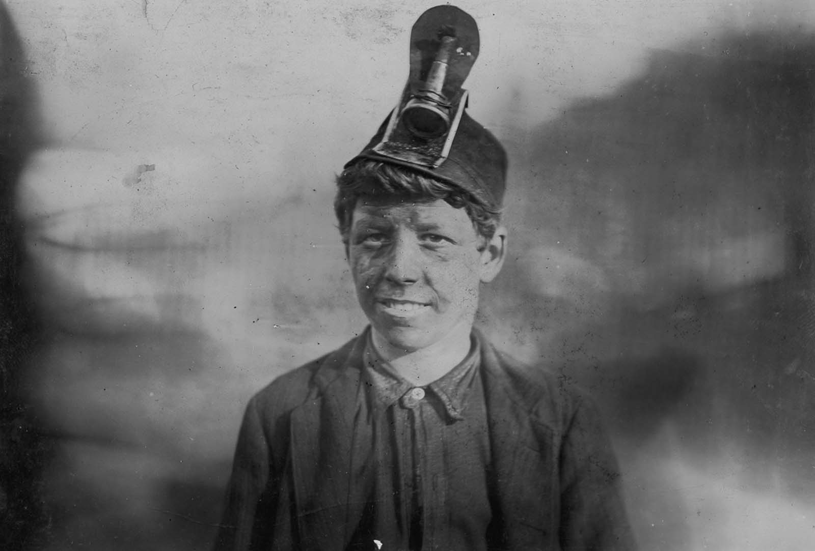Frank, age 14. He had been working in a mine for three years and had been hospitalized for a year when his leg was crushed by a coal car. 1906.