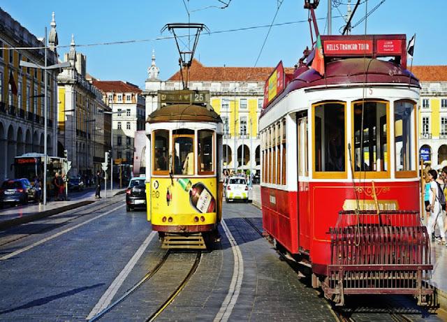 Bondes na cidade de Lisboa