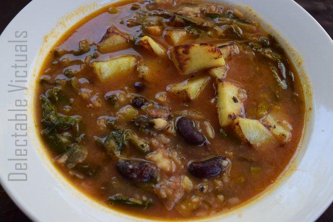 Kidney Bean, Sweet Potato, Kale Soup