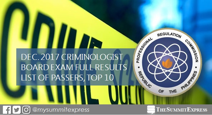 December 2017 Criminologist CLE board exam passers list, top 10
