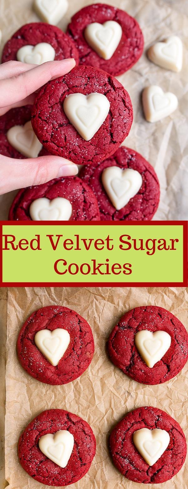 Red Velvet Sugar Cookies #redvelvet #cookies #appetizer