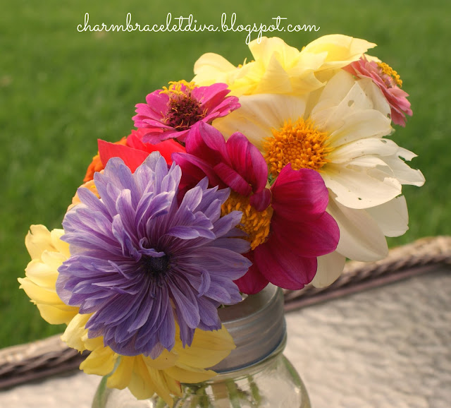 summer flower garden bouquet in mason jar