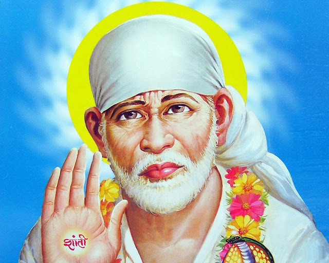 Best Lord Sai Baba  Wallpaper In Blue Background