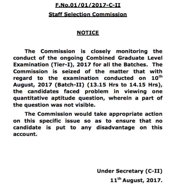 Click Here to view/download SSC official notice regarding DI Questions.