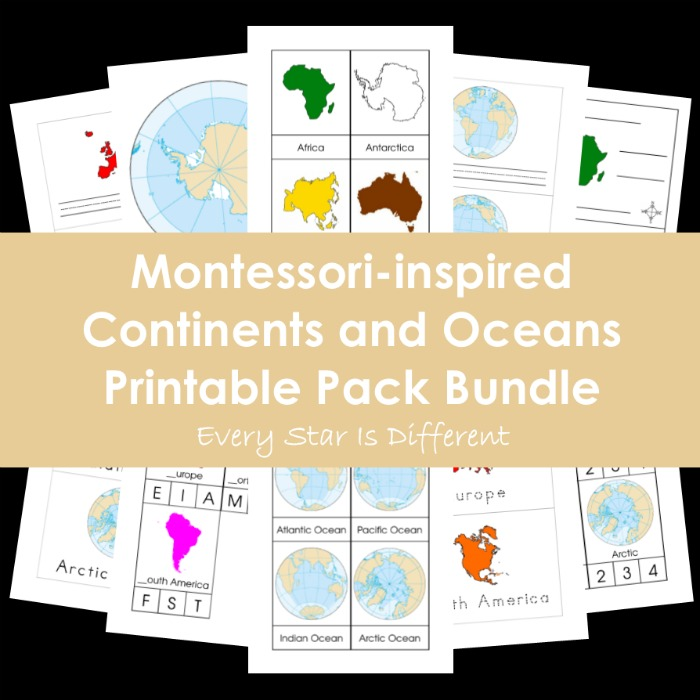 picture regarding Printable Continents and Oceans identify Every single Star Is Option: Montessori-influenced Continents and