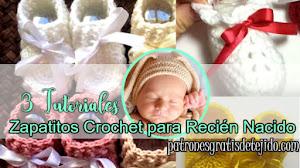 Crochet para recién nacido / Zapatitos fáciles de tejer / 3 Tutoriales