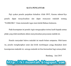 Contoh Kata Pengantar Makalah Bahasa Indonesia Yang Baik Dan Benar Tentang Narkoba