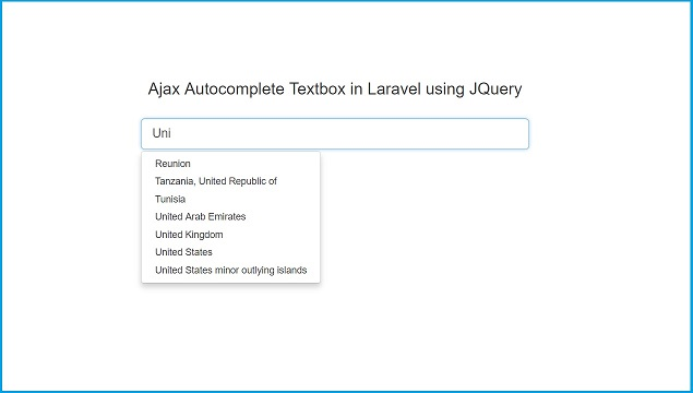 Ajax Autocomplete Textbox in Laravel using JQuery   Webslesson