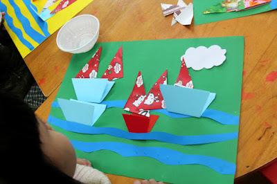 Giáo án mầm non gấp dán thuyền trên biển