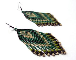 Купить длинные серьги из бисера в этническом стиле. Купить изделия из бисера в интернет магазине