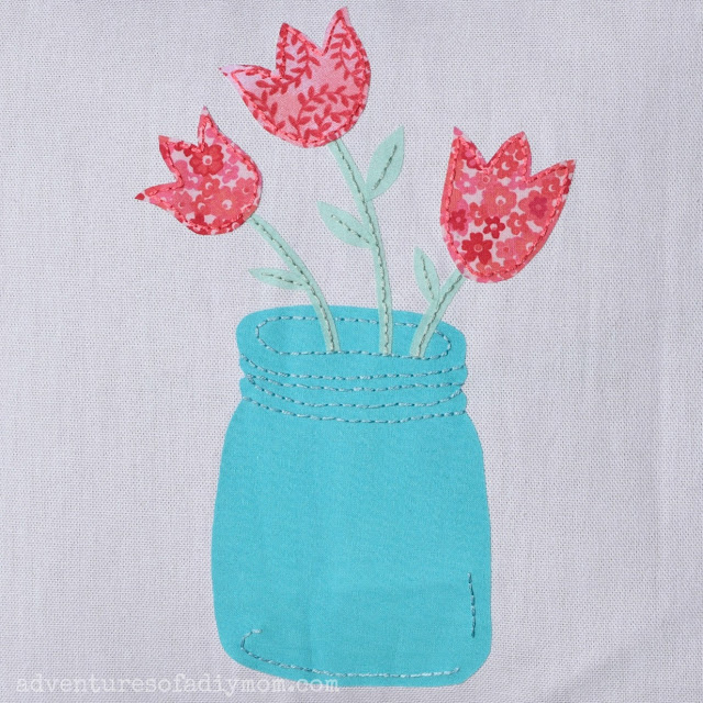 Tulips in a jar fabric applique - free pattern download