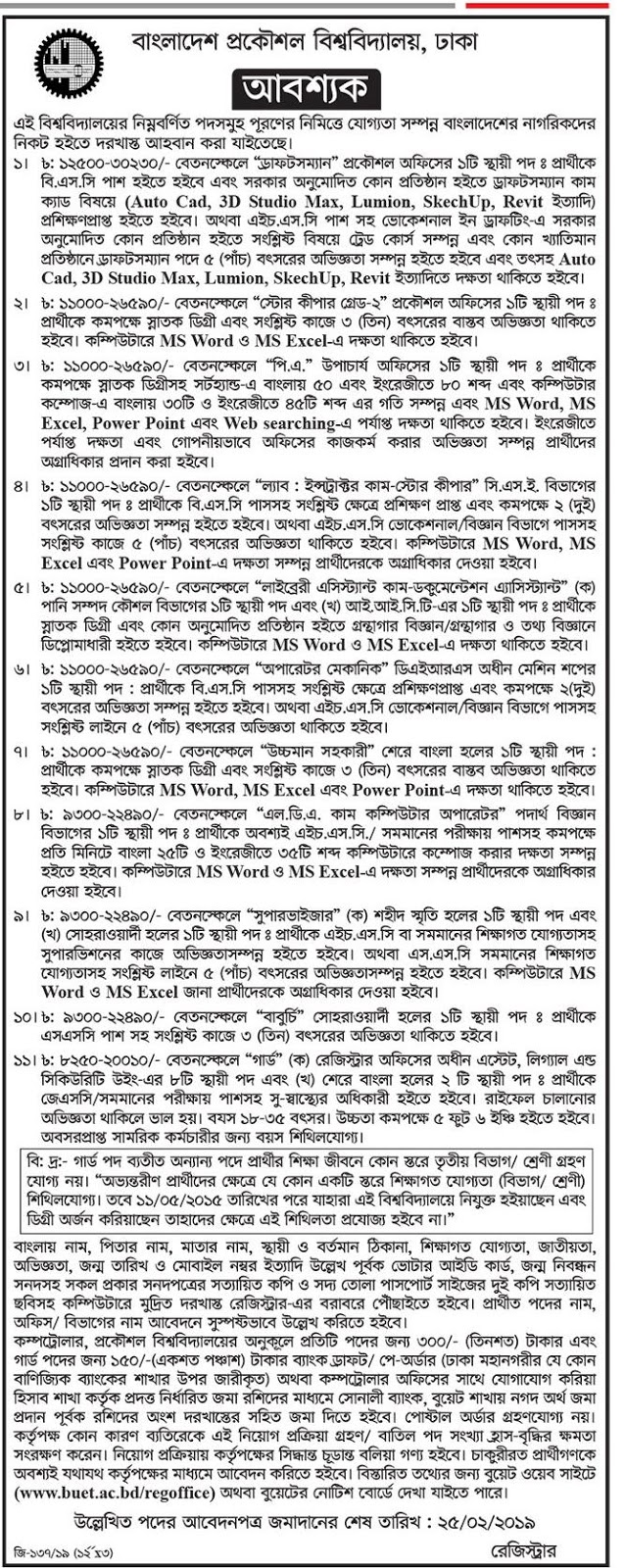 Bangladesh University of Engineering and Technology (BUET) Job Circular 2019