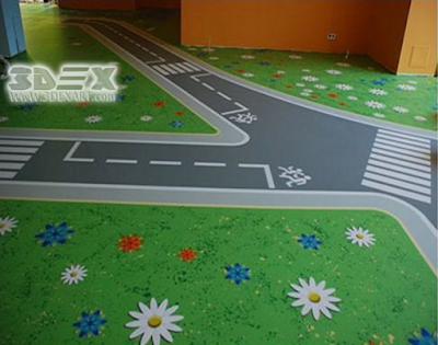 nursery hallway flooring with 3d epoxy paint technology
