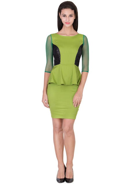 Shimmer Parrot green Bodycon Peplum dress