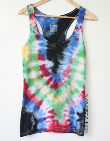 DIY: rainbow colored tie dye sleeveless shirt