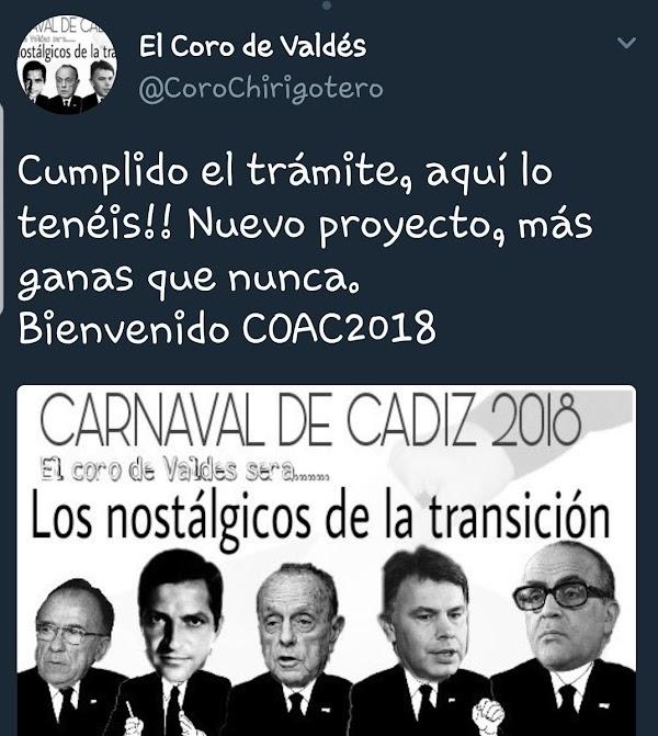 El Coro de Valdés será para el COAC 2018 'Los Nostálgicos de la Transición'