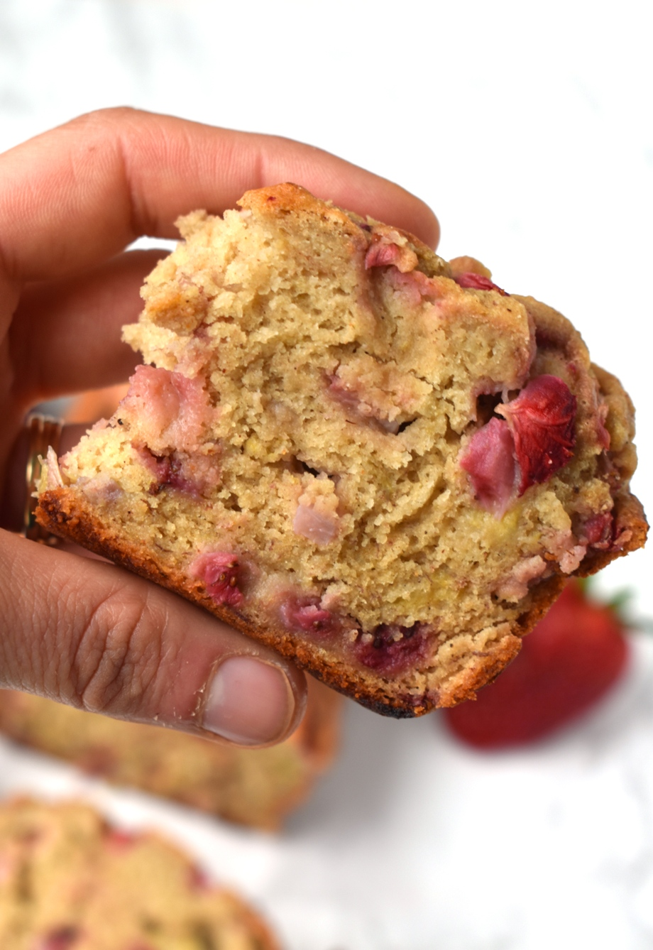 Slice of strawberry banana bread