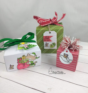 Three Tags and Santa Paws a set of Tags by Diane Morales | Santa Paws Newton Stamp Set by Newton's Nook Designs