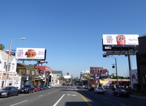Santa Clarita Diet series premiere billboards Sunset Strip