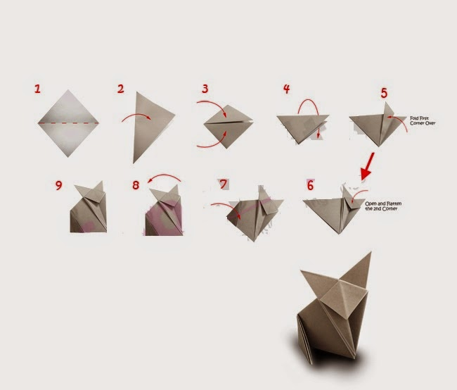 step by step origami cat ~ kids origami instructions easy - photo#48