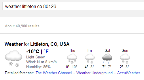 New Google Weather OneBox for Desktop | msoftnews