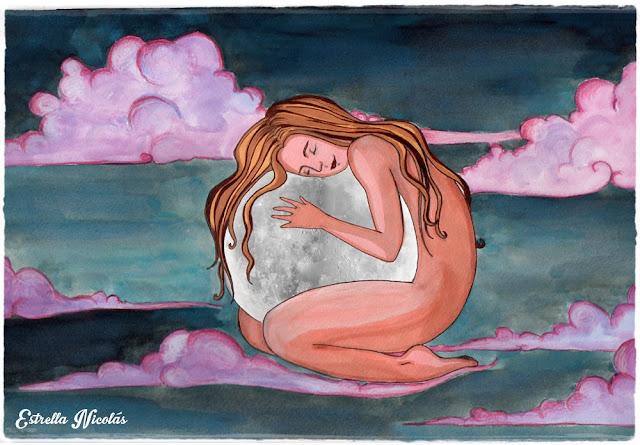 moon, luna, illustration, ilustración, nubes, cielo, sky, mujer, woman