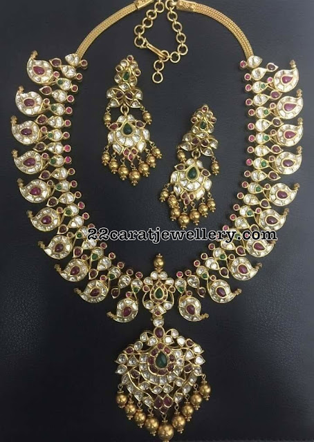 Kundan Mango Haram with Polki Earrings