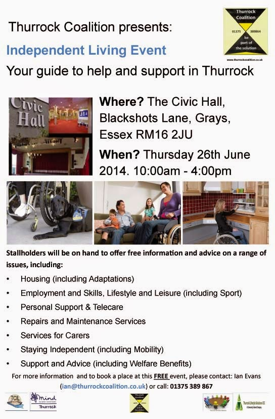 Independent Living Event (10-4pm Thursday 26th June) - Photos of the Civic Hall inside, with stage and curtains and foyer, plus a guide dog and range of assistive living aids.