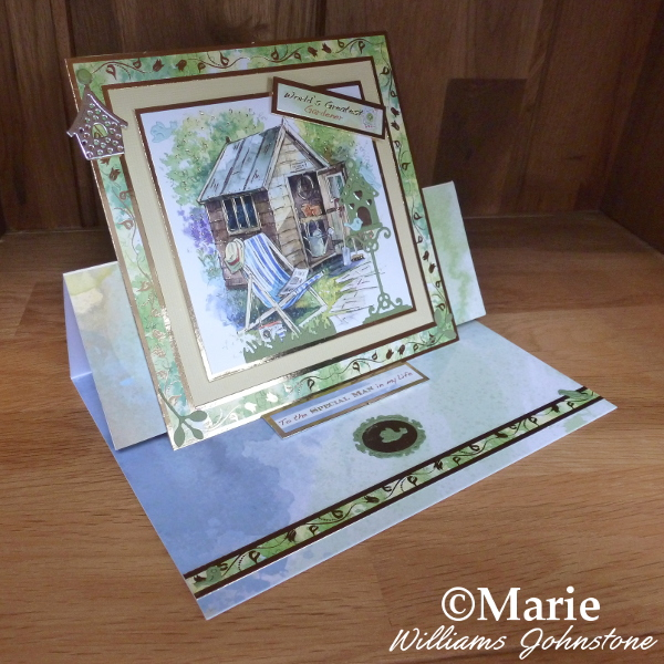 Hunkydory garden shed gardening theme handmade easel card by craftymarie