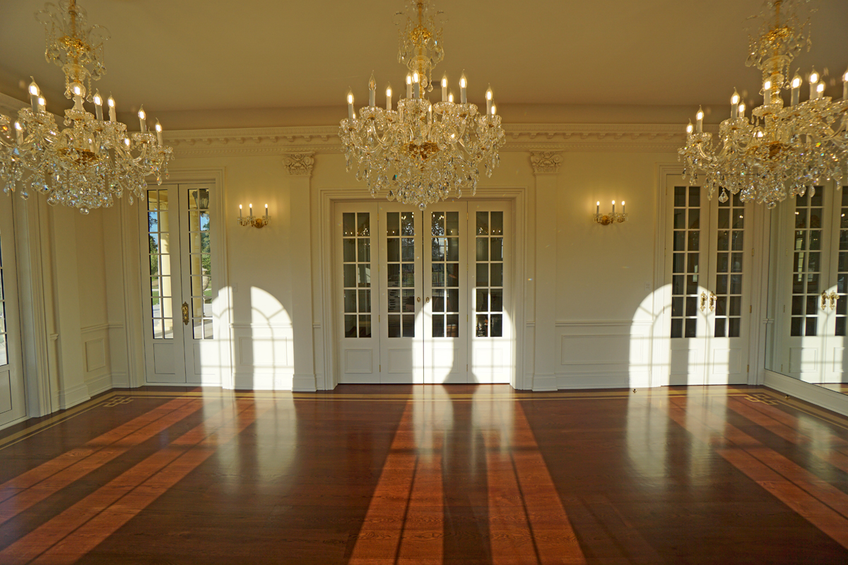 The photo below was taken the night before our guests arrived at twilight with the sunset starting to stream in through the French doors ... & Willowbrook Park: The Ballroom Music Room and Piano Shifting...