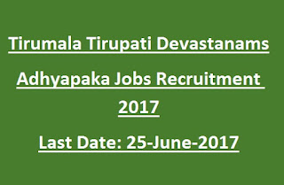 Tirumala Tirupati Devastanams S.V.Veda Patasalas Adhyapaka Govt Jobs Recruitment Notification 2017