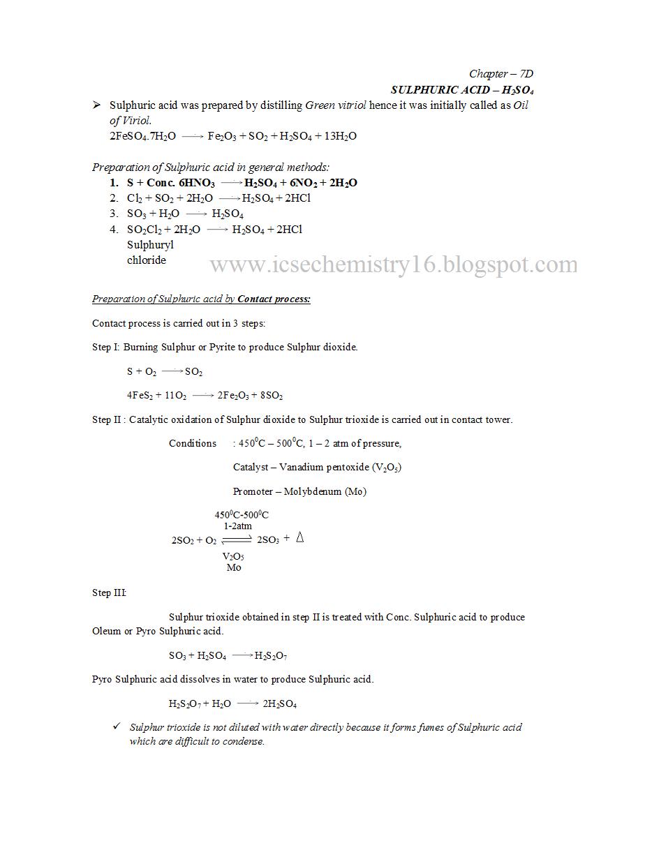 Icse Chemistry Icse Chemisry Sulphuric Acid Notes