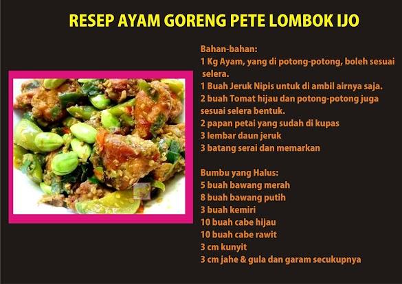 Resep Ayam Goreng Pete Lombok Ijo dan Cara Membuatnya
