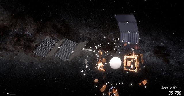 Satellite collisions create debris. Credit: ESA/ID&Sense/ONiRiXEL, CC BY-SA 3.0 IGO, CC BY-SA 3.0 IGO